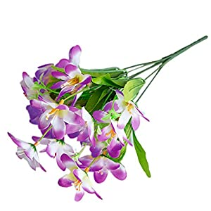 Artificial Flowers Narcissus Simulation Flowers Fake Plants for Office Home Decoration 6 Branches/1Pc Purple
