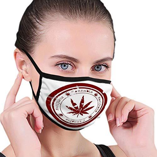 Xuwei sello rojo con hoja de marihuana adulto luz ear-Hook máscara al aire libre, adecuado para deportes, compras, pesca, equitación, viento y calor, etc.