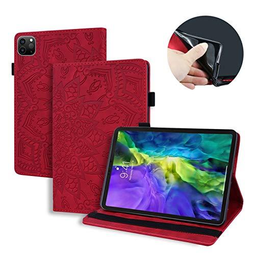 LTLJX Funda per Samsung Galaxy Tab S7 Plus 12.4 Inch 2020, Tableta Cubierta con Card Slot, Diseño de Flores Mandala, Cuero PU Estuche Protector Soporte,Rojo