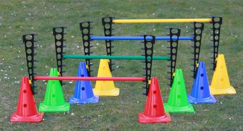 4er Set Kombi-Trainingshürden: 8x Leiterhürde: 45 cm, 8x Mehrzweckkegel: 30 cm, 4x Stange: 80 cm, 4 Farben