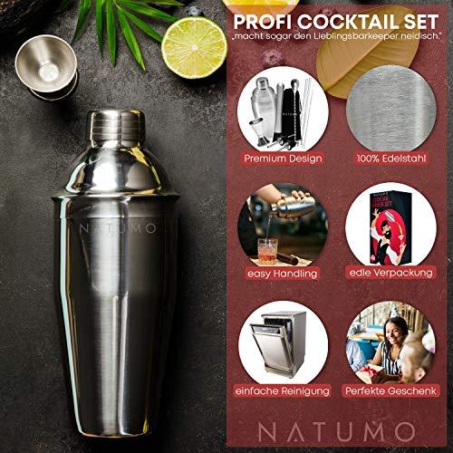 NATUMO ® Cocktail Shaker Set Edelstahl - 10 teiliges Cocktailshaker Set, Cobbler Shaker, Doppel-Messbecher, Stößel, Dosierer, Löffel, Strohhalme - 4