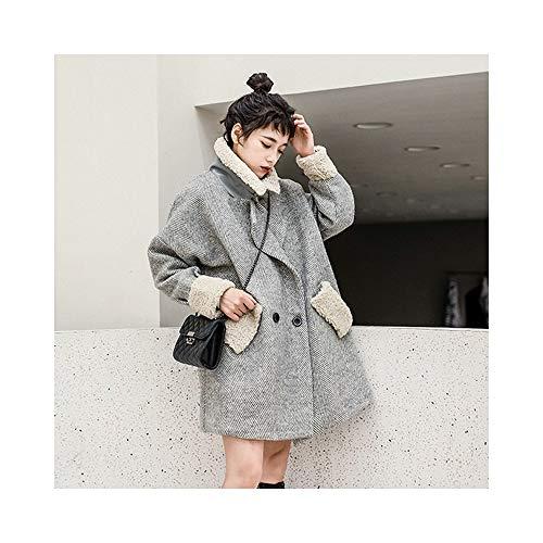 Winter Vrouwen Plaid Tweed Jas Oversize Grijs Berber Fleece Kraag Manchet Patchwork Ontwerp Dubbel-breasted Blend Overjas Vrouw