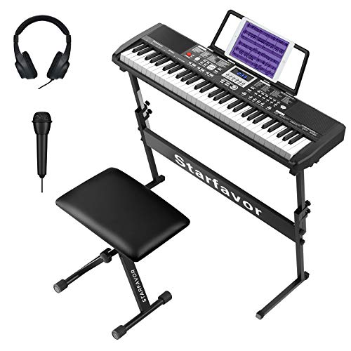 Starfavor 61 Key Portable Electric Keyboard Electronic Piano with Full-Size Keys for Beginners Adults Kids, include Z-style Stand, Stool, Power Supply, Microphone, Headphone (SEK-461S)