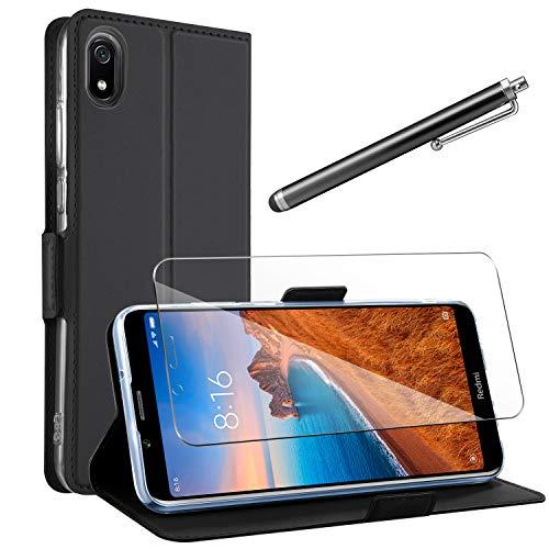 AROYI Lederhülle Xiaomi Redmi 7A Flip Schwarz+HD Schutzfolie,Xiaomi Redmi 7A Handyhülle 360 Schutz PU Leder Tasche Wallet Hülle Kartensteckplätzen Schutzhülle für Xiaomi Redmi 7A