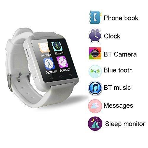 YUNTAB U8 1,48-Zoll Touch Screen Bluetooth Smart Handgelenk Watch U Watch Phone Mate für iPhone 6/5 s / 5C/5/4 s/4 Samsung Galaxy Note 4/Note 3/Note 2/S5/S4/S3 HTC Sony BlackBerry und mehr (Weiß)