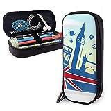 Reino Unido Londres Elmeent On Flag con Sky Cute Pen Estuche para lápices Bolsa de cuero Bolsa Estuche para lápices Caja con cremallera