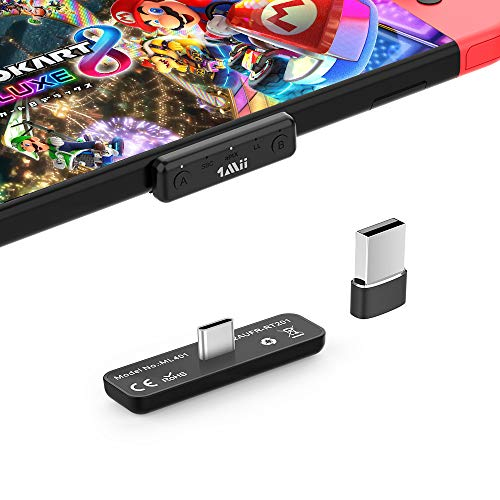 1Mii Bluetooth Adapter for Nintendo Switch & Lite/PS4/PC,BT 5.0 Wireless Audio Transmitter with APTX LL Low Latency Supports Bluetooth Headphone Speakers,Come with USB C to A Converter