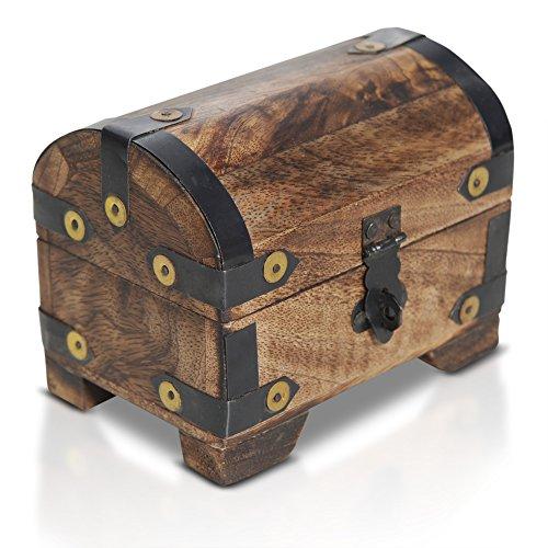 Brynnberg Schatztruhe Holztruhe Piraten Schatzsuche Holz massiv braun Bauernkasse (11x7x9 cm)