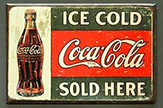 Coca-Cola (2x3) Ice Cold Sold Here 1916 Coke Bottle Distressed Retro Vintage Locker Refrigerator Magnet