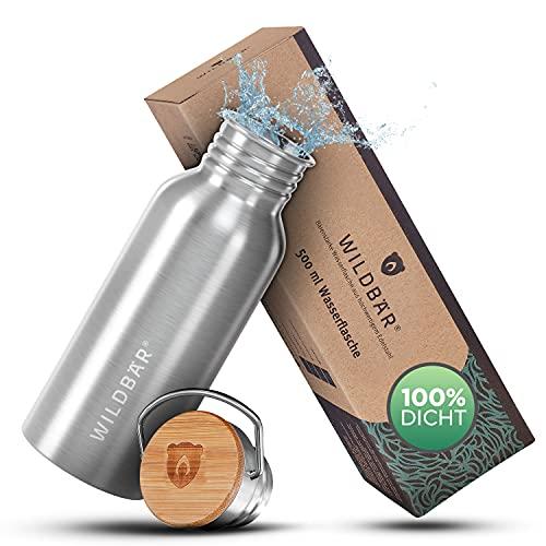 WILDBÄR® - Premium Trinkflasche Edelstahl [500 ml] einwandig u. auslaufsicher mit Bambus Deckel - Edelstahl Trinkflasche für Sport, Wandern u. Büro - BPA freie Trinkflasche Edelstahl Kinder