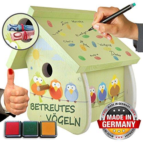 galleryy.net Gästebuch zur Hochzeit - Betreutes Vögeln Grün - Hochzeitsgeschenk & Geldgeschenk