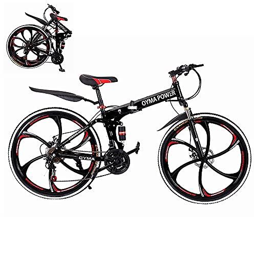 Bicicleta de montaña plegable, 26 pulgadas deportes al aire libre bicicleta MTB de acero de alto carbono, llanta de aluminio, desviador trasero de 21 velocidades (Rojo-T01)