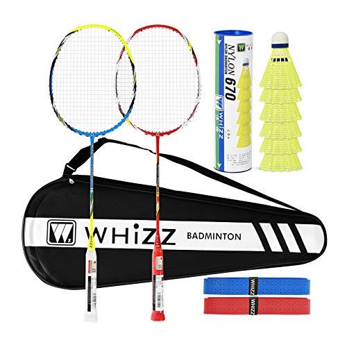 Whizz 2 Player Badminton Racquet Professional Racket Set, Including Premium Badminton Bag & 2 Badminton Grip