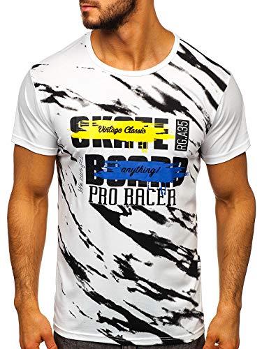 BOLF Hombre Camiseta de Manga Corta Escote Redondo Diseño Camuflaje Camiseta de Algodón Estilo Diario J.Style KS1951 Blanca XXL [3C3]