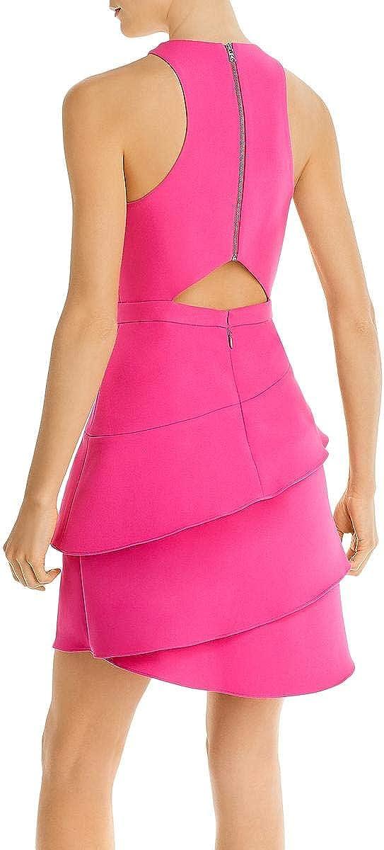 BCBG Max Azria Women's Tiered Cut-Out Sleeveless Mini Halter Dress