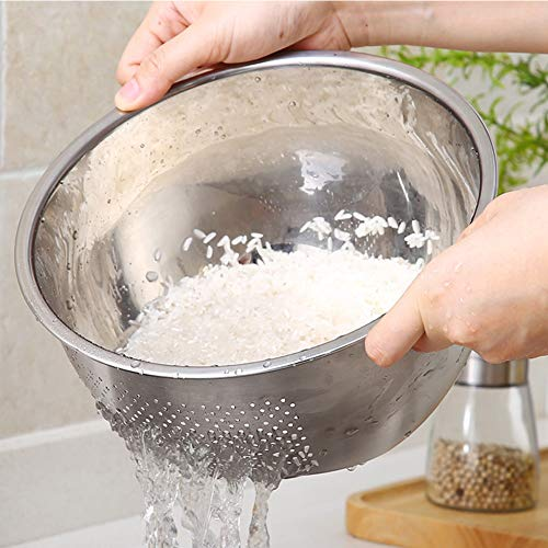 Cuenco de arroz 3 en 1, colador de cocina de acero inoxidable con escurridor lateral para lavar arroz, verduras, frutas 23 cm As Picture Show