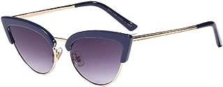 Aiweijia Women's Fashion Sunglasses Resin Cat Eye Half-Frame UV400 Protection Flexible Hinges Eyewear