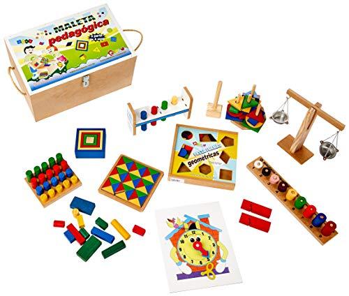 Carlu Brinquedos - Maleta Pedagógica Conjunto Composto por 10 Brinquedos de Construção, 4+ Anos, Multicolorido, 1242