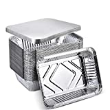 XIAFEI Disposable Aluminum Rectangular Foil Pans, Takeout Containers, Pack of 50 with Board Lids,...
