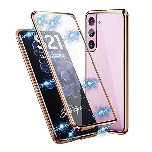 IEMY Hülle für Samsung Galaxy S21, 360 Grad Magnetisch Dünn Metallrahmen Magnetische Adsorption Handyhülle Schutzfolie Vorne & Hinten Komplett Schutzhülle für Samsung Galaxy S21 (Kupfergold)