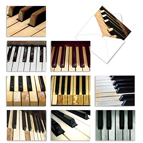 10 Piano Note Cards for All Occasions with Envelopes, Assorted Stationery Set for Weddings, Birthdays, Thank Yous, and More - Blank 'Keynotes' Greeting Cards 4 x 5.12 inch - NobleWorks M2016