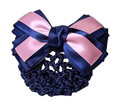 Elegant Ladies Snood Net Barrette Hairnets Housse de cheveux, Bow Purple #01
