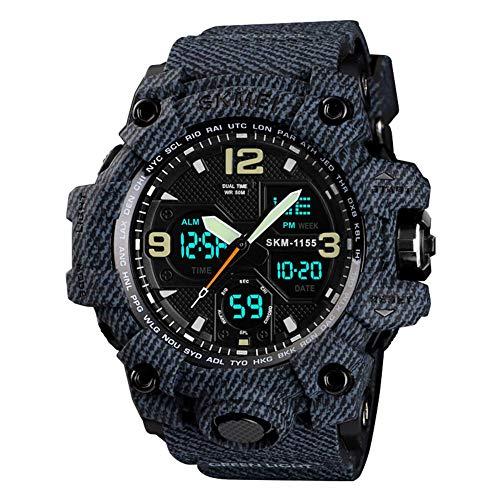 QZPM Hombre Relojes, Al Aire Libre Deportes Multifuncional Analógico Y Digital Deporte Relojes LED Relojes De Pulsera Men Watches,Denim Black