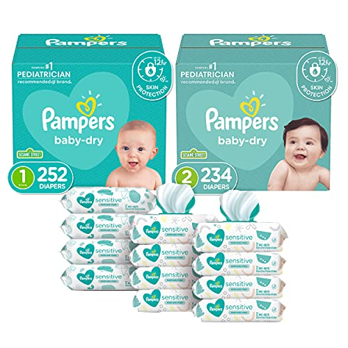 Pampers Baby Dry Disposable Baby Diapers Starter Kit (2 Month Supply), Sizes 1 (252 Count) & 2, (234 Count) with Sensitive Water Based Baby Wipes, 12X Pop-Top Packs (864 Count)