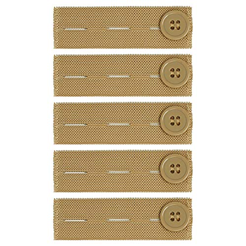 Comfy Clothiers Elastic Waist Extender for Khakis (5-Pack in Khaki/Tan) - Strong Adjustable Pants Button Extenders