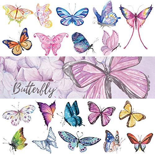 Ooopsiun Butterfly Tattoos for Kids Women - 120 Pcs Cute hand drawing Colorful Art Butterfly Temporary Tattoos, Butterfly Party Favors