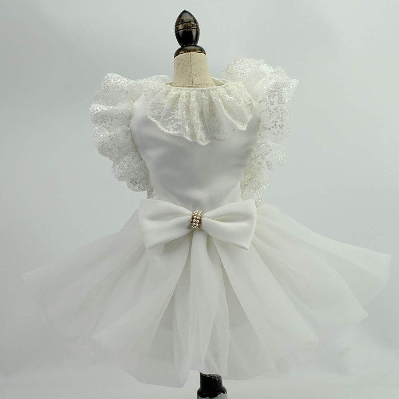 Pet Wedding Dress, Sweet Bowknot Small Dog Skirt Girl Tutu Clothing Puppy Cat Sleeveless Apparel Wedding Dresses,XL