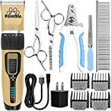Pawsible Dog Clippers for Grooming - Dog Grooming Kit with Dog Hair Clippers, Dog Nail Clippers, Thinning & Straight Grooming Scissors - Dog Grooming Clippers with Battery Indicator - Dog Supplies