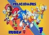 OBLEA de Sonic Personalizada con Nombre y Edad para Pastel o Tarta, Especial para cumpleaños, Medida Rectangular de 28x20cm