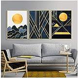 ZAWAGU Pintura Arte de la lona Conjunto de 3 piezas Paisaje abstracto Café Casa Pared Sala de estar moderna Cartel Imprimir Estudio Habitación Imagen Decoración de oficina Marco
