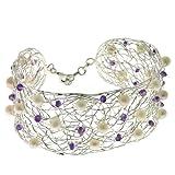 Franki Baker 925 Sterling Silver Fine Woven Wire Cuff Bracelet with Amethysts & Pearls