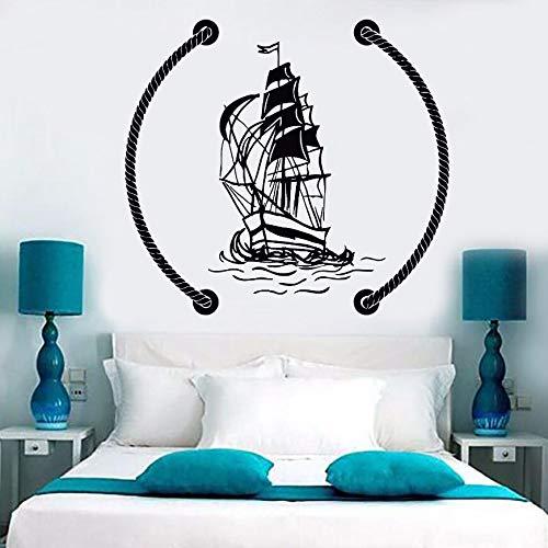 Flduod rosa de los vientos y etiqueta de la pared del barco faro náutico etiqueta de la pared decoración del baño junto al mar suministros de la corte marina mural 42x56cm