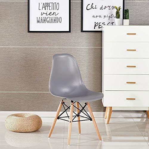 Naturelifestore 4 x Designer Kunststoff Stuhl Polypropylen und ausBuchenholz, Wohnzimmerstuhl Esszimmerstuhl Bürostuhl (grau)