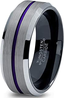 Chroma Color Collection Tungsten Wedding Band Ring 8mm for Men Women Green Red Blue Purple Black Grey Center Line Bevel Edge Brushed Polished