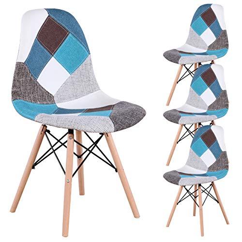 INJOY Life Chaises de Salle à Manger Chaise Patchwork rétro Chaise de Salon de Salle à Manger en Tissu Chaises latérales pour Cuisine Salle à Manger Ensembles de 4, Bleu