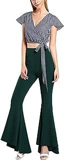 Mujeres Pantalones Largos Color Sólido Cintura Alta Cóctel Entallado Pantalones de Campana Tamaño Grande Elástica Pantalón