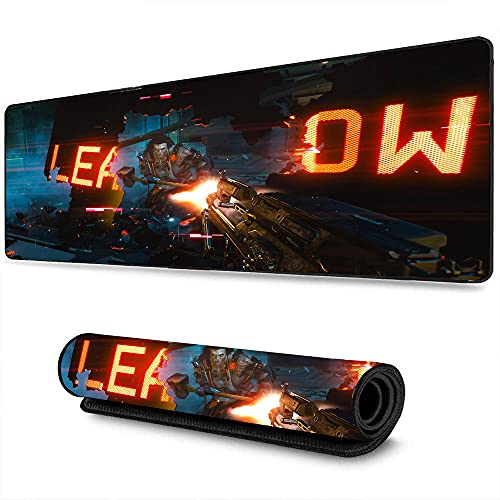 Gaming Mouse with pad Cyberpunk Athletic Game Super Warrior Hero Role Playing Game Suitable for Office and Home, Professional Gamers, Non-Slip Rubber Base on top edgege 11.8'x31.5'