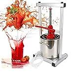 ZHFEISY 12L Fruit Crusher Juice Maker Machine - Stainless Steel Manual Fruit Grinder Mill Wine Press Machine w/Hydraulic Jack For Grape,Strawberry, Cherry, Rasberry Crushing/Brewing