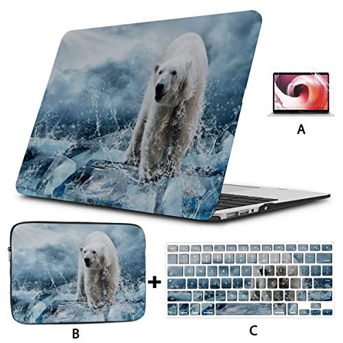 Macbook 11 Inch Case Cool Animal White Polar Bear Macbook A1466 Case Hard Shell Mac Air 11'/13' Pro 13'/15'/16' With Notebook Sleeve Bag For Macbook 2008-2020 Version