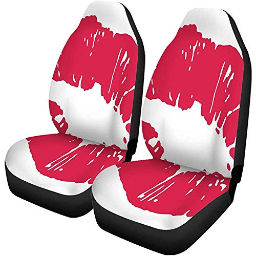 Night-Shop Autositzbezüge Kuss der roten Lippen Lippenstift Mark Sex Mund Mund Pucker 2er-Set Autozubehör Protektoren Auto Dekor Universal Fit für PKW SUV