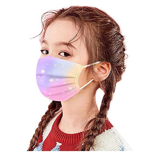 BOOMJIU 50 Stück Kinder_Mundschutz Bunte Einweg_3-lagig_Staubdicht, Atmungsaktiv Mundbedeckung Bandana Halstuch für Jungen und Mädchen (A)