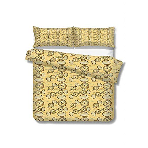 Kresdy Direct Compass Pure Bedding Hotel Luxury Bed Linen London Moscow Paris Sydney Traveling Around The World Theme Illustration Polyester - Soft and Breathable (King) Mustard Multicolor