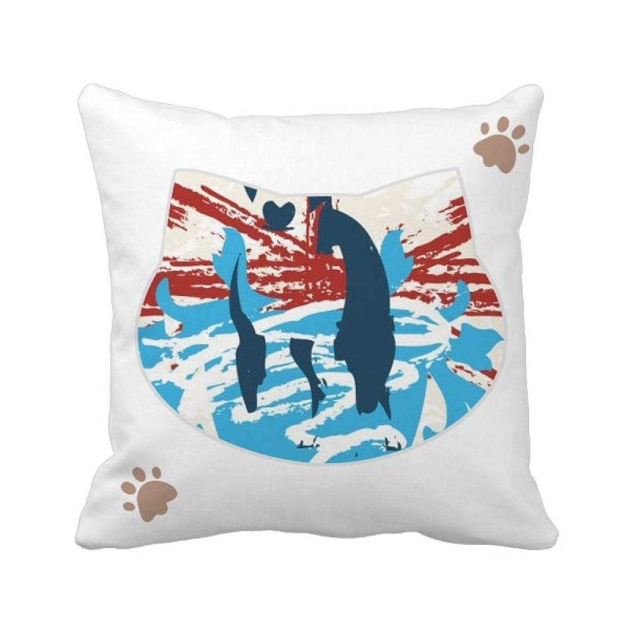 子豚作物トイレ落書き通りレッドブルーアートイラストパターン 枕カバーを放り投げる猫広場 50cm x 50cm