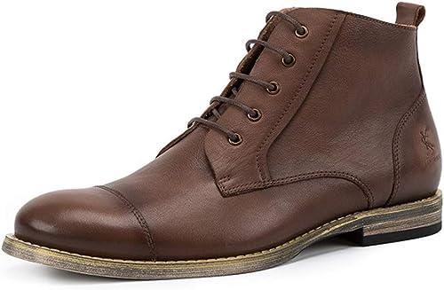 ZHRUI Stiefel Chukka de Cuero Genuino para Hombre Stiefel de Suela Blanda Duradera y Antideslizante de Confort (Farbe   braun, tamaño   EU 40)