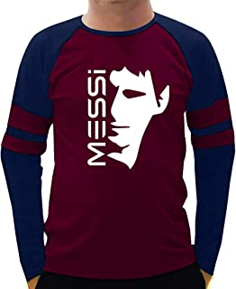 CupidStore Football Full Sleeves T Shirts - 8 FCB Lionel Messi Face 2 Cotton Full Sleeves T Shirt for Mens