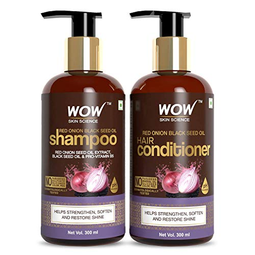 WOW Skin Science Red Onion Black Seed Oil Shampoo & Conditioner Kit with Red Onion Seed Oil Extract, Black Seed Oil & Pro-Vitamin B5 (Shampoo + Conditioner) export Quality